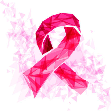Breast cancer awareness ribbon symbol made with transparent triangles over white background