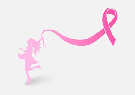 乳房癌意識リボン要素健康な女性概念図  イラスト・ベクター素材