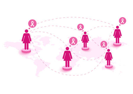 Global collaboration breast cancer awareness concept illustration Vector