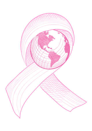 cancer woman: Global breast cancer awareness ribbon symbol with planet Earth concept illustration
