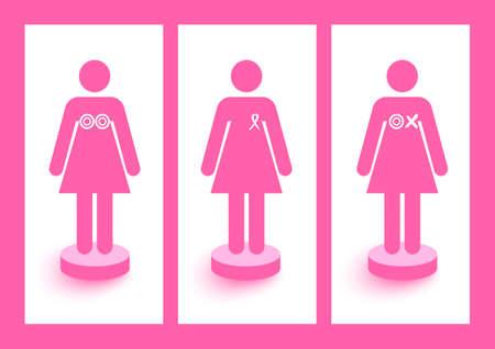 Frauen Figuren mit Bändern und Symbole Brustkrebs Bewusstsein und Präventionskampagne Standard-Bild - 22187893