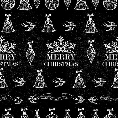 Merry Christmas birds, ribbons and other elements seamless pattern with grunge background Vector