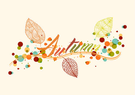fall background: Abstract autumn composition. Leaf with colorful transparent bubbles inside illustratio