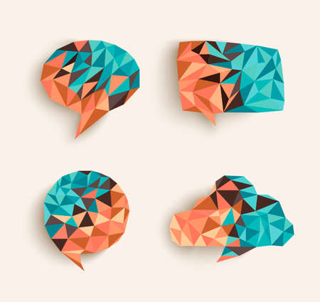 Trendy 3d geometric social media speech bubble compositions set Vector