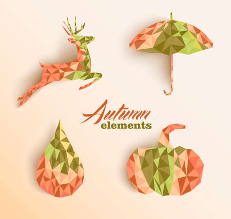 Geometric abstract autumn elements shapes compositions set Vector