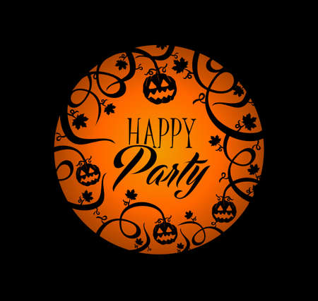 basic candy: Happy Party Halloween text over orange full moon with pumpkin lantern and spooky forest concept background