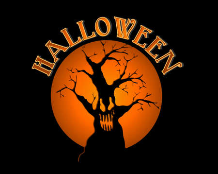 basic candy: Halloween text spooky tree and orange full moon illustration