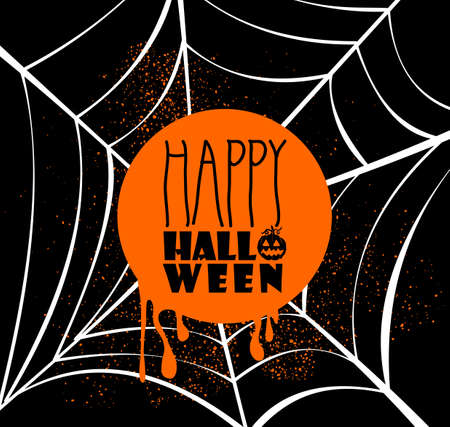 Happy Halloween pumpkin lantern and text inside orange circle over spider web banner with grunge background Vector