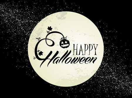 Halloween full moon, pumpkin lantern and text banner with grunge background Vector