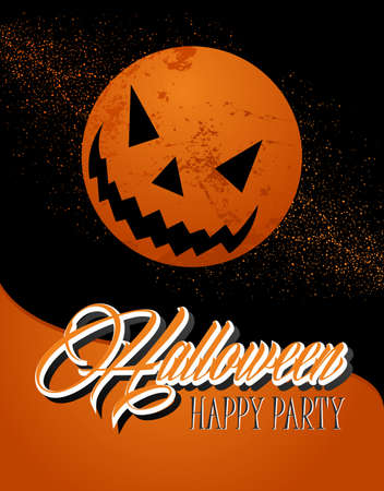 basic candy: Halloween full moon, pumpkin lantern and text banner with grunge background