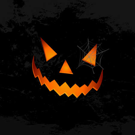 Happy Halloween pumpkin face lantern with spider web holiday elements illustration Vector
