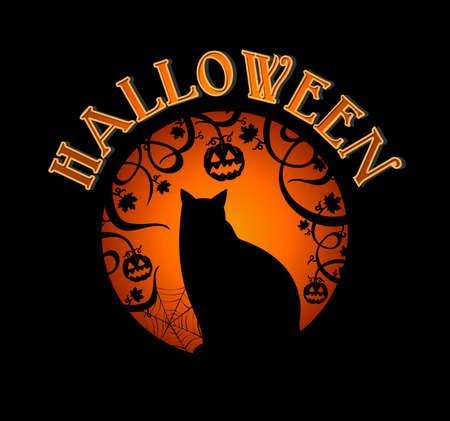gato negro: Feliz bosque espeluznante de Halloween y negro gato holiday elementos de ilustraci�n Vectores