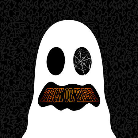 Happy Halloween trick or treat ghost illustration holiday elements Vector