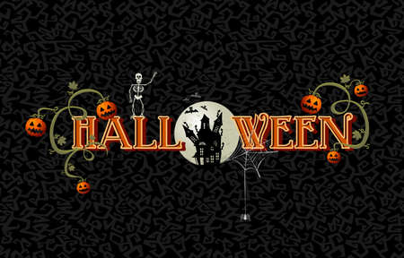 Halloween full moon text spooky haunted house illustration Vector