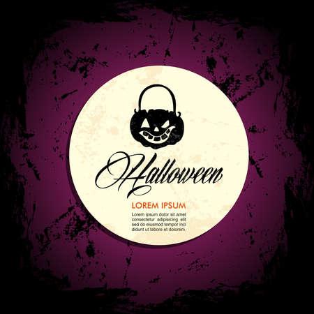october 31: Halloween full moon pumpkin lantern composition, customizable text over grunge background