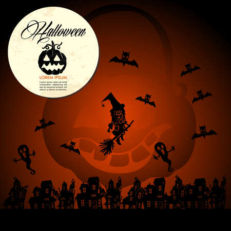 basic candy: Halloween full moon pumpkin flying witches and bats, customizable text