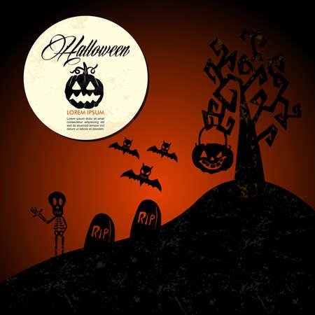 basic candy: Halloween full moon pumpkin spooky cemetery, customizable text