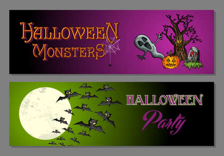 basic candy: Coloridos monstruos felices banners web del partido de Halloween conjunto