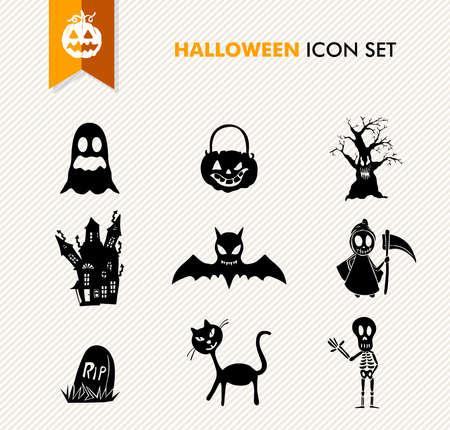 basic candy: Basic isolated Halloween icons set