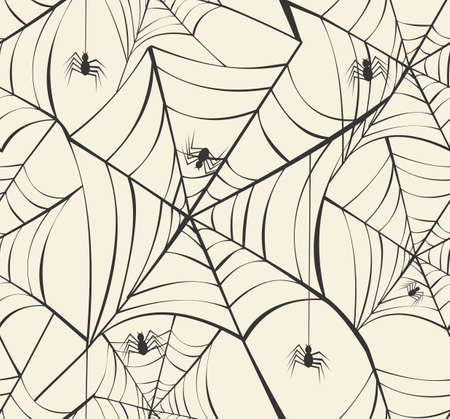 bugs shopping: Happy Halloween spider webs seamless pattern background