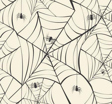 spider webs: Happy Halloween spider webs seamless pattern background