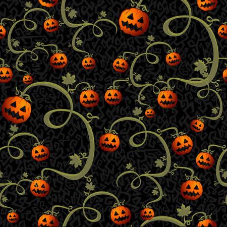 october 31: Halloween spooky pumpkins lanterns seamless pattern background Illustration