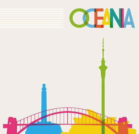 Diversity monuments of Oceania, famous landmarks colors transparency Vector