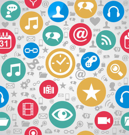 Colorful social media icons seamless pattern background Vector