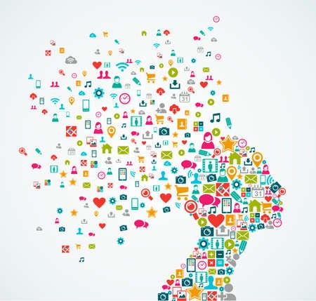 소셜 미디어 아이콘으로 만든 여자 머리 실루엣 개념 그림 스플래시 일러스트