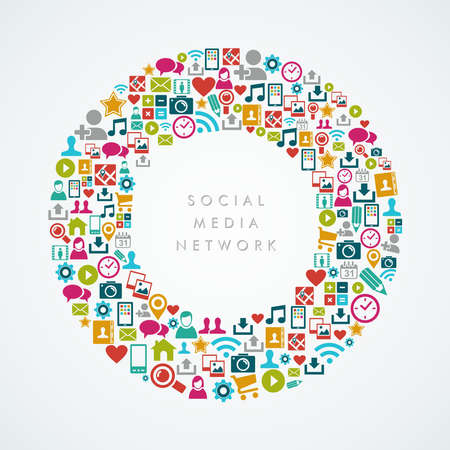Colorful social media network icons round shape composition Vector