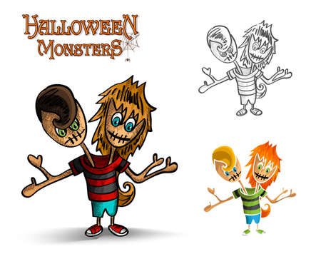 Halloween monsters spooky two heads zombies set.  Vector