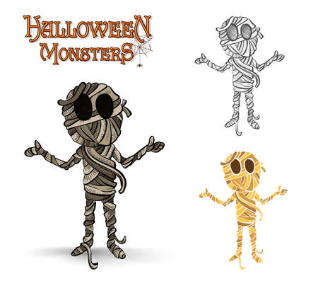 Halloween monsters spooky mummies set.  Vector