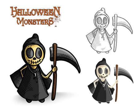 Halloween monsters spooky grim reapers set. Vector