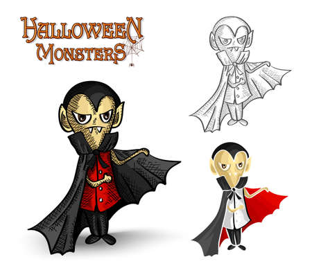 basic candy: Halloween monsters spooky young vampires set.  Illustration