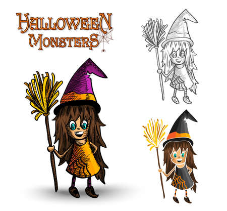 Halloween monsters spooky young witches set. Stock Vector - 22284154