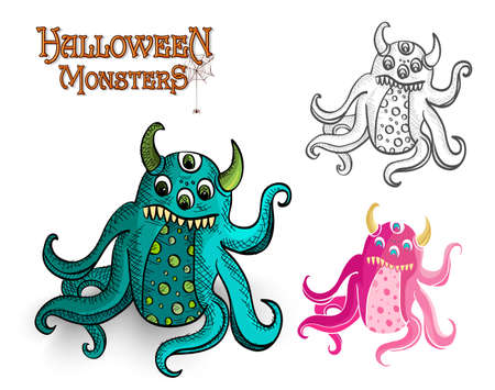 basic candy: Monstruos de Halloween criaturas espeluznantes establecidos. Vectores