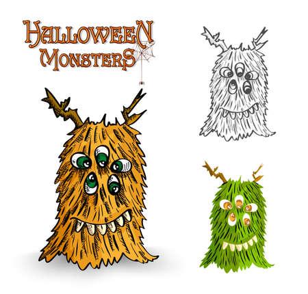 Halloween monsters spooky weird creatures set.  Vector
