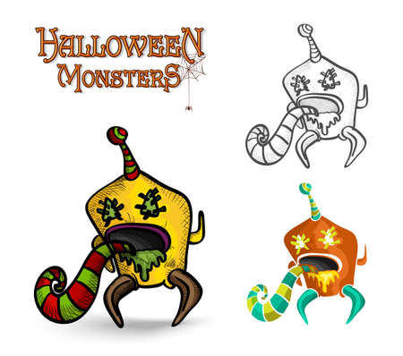 basic candy: Halloween monsters spooky creatures set illustration.