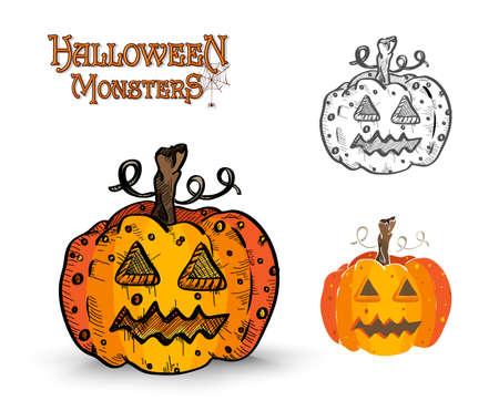 basic candy: Halloween Monsters spooky pumpkin lanterns set.