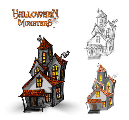 basic candy: Halloween monsters spooky haunted houses set.