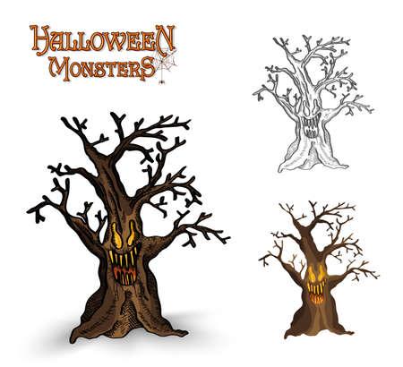 Halloween monsters spooky haunted trees set.