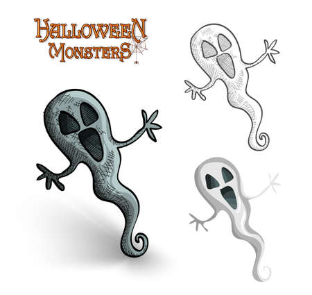 basic candy: Halloween monsters spooky ghosts set.