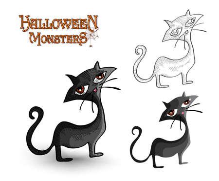 Halloween monsters spooky black cats set.