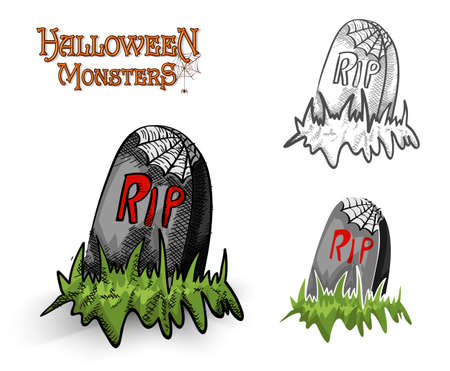 basic candy: Halloween monsters spooky tombstones set illustration.