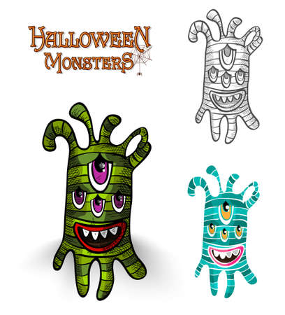 basic candy: Halloween monster spooky creatures set illustration.