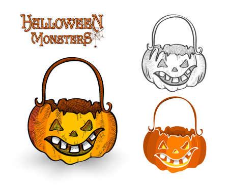 Halloween monster pumpkin lanterns set illustration.  Illustration