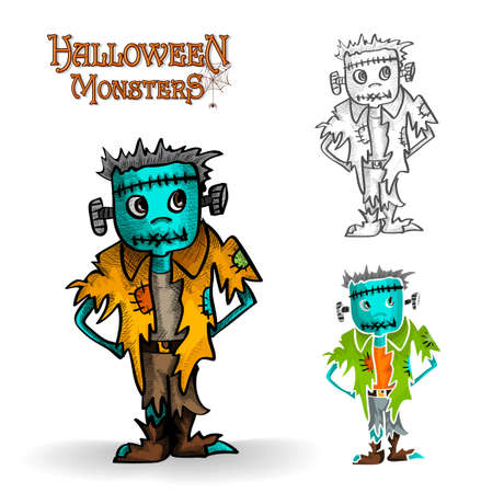 Halloween monster spooky young zombies set illustration.  Vector