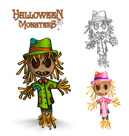 Halloween monster spooky scarecrows set.