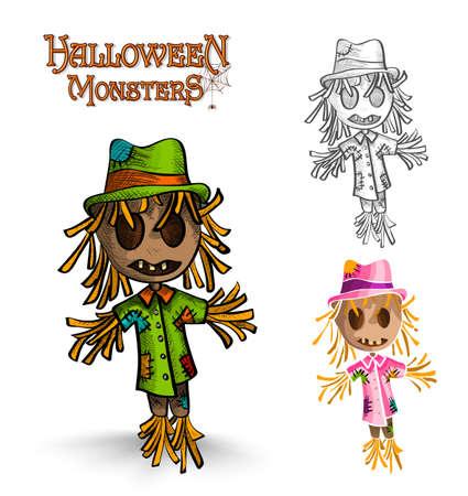 espantapajaros: Monstruo de Halloween espantapájaros espeluznante establecidos.