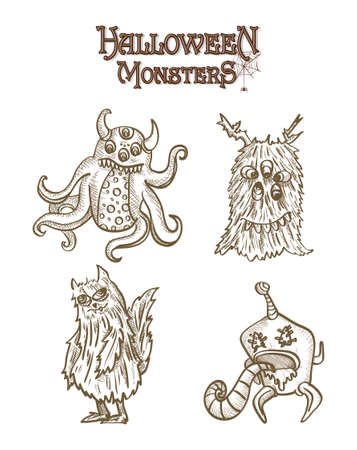 basic candy: Halloween Monsters spooky hand drawn creatures set.